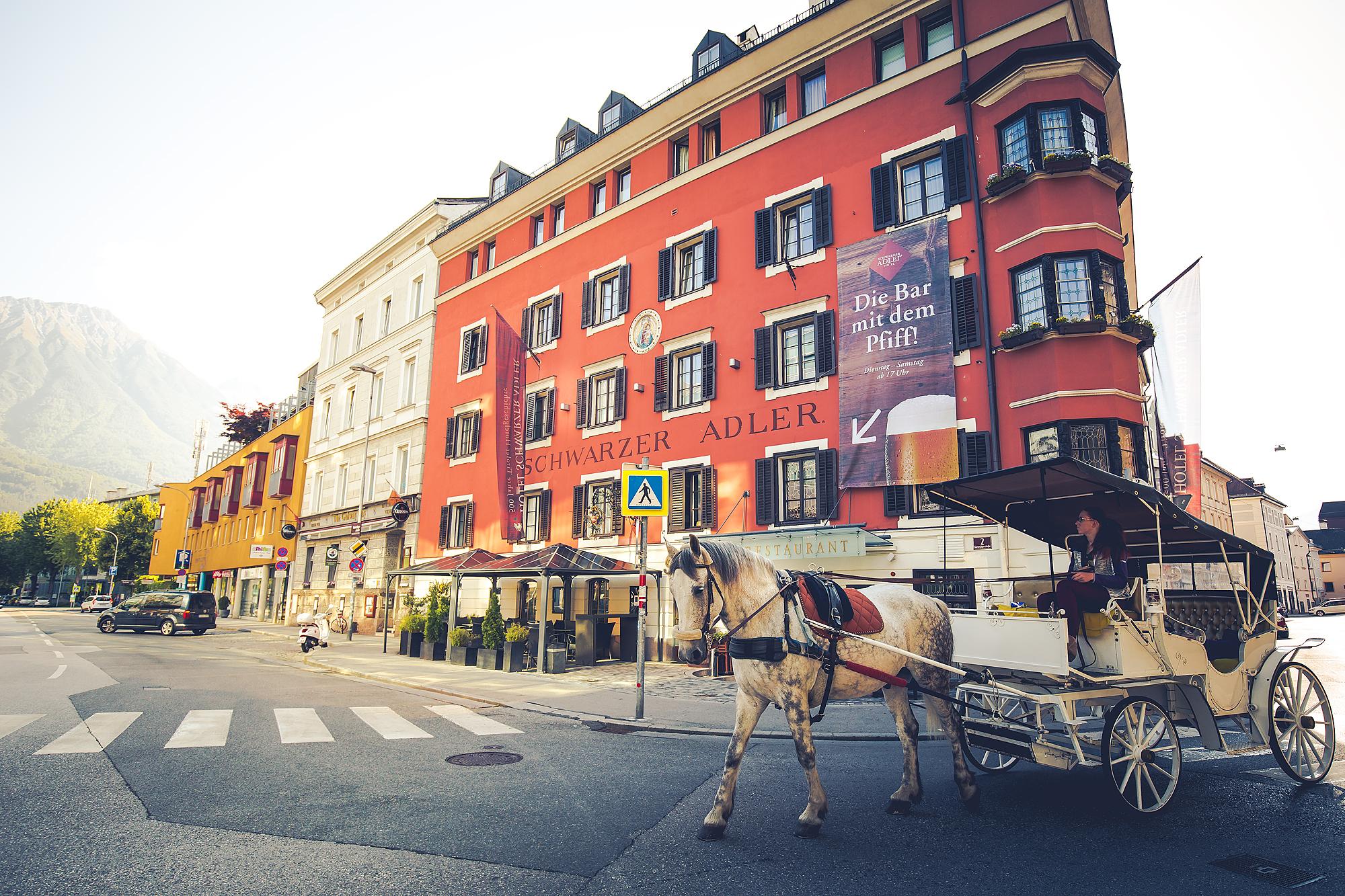 Hotel mit weissem Pferd und Kutsche